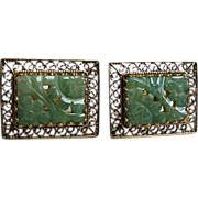 Cufflinks 14K Gold with Carved Jade Filigree Work c1950's