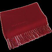 VALENTINO Mens Italian Cashmere Woven Fringe Scarf