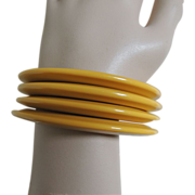 Atomic Bakelite Bracelets Yellow Cream Corn Stacked Set of 4