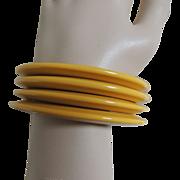 Atomic Bakelite Bracelets Yellow Cream Corn Stacked Set of 4
