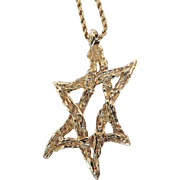 Jewish Star of David 14K Gold Modernist Handmade c1959