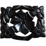 Bakelite Pin Floral Deeply Carved Black c1940's