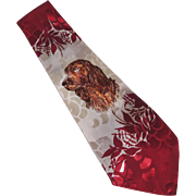 Deco Hand Painted Men's Neck Tie Dog Irish Setter