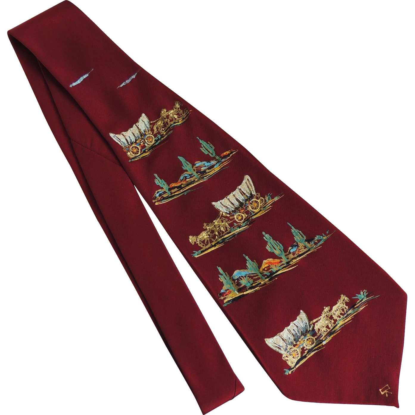 Vintage Tie Cowboy Covered Wagon Themed Hand Painted California c1950's