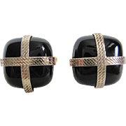 Cufflinks Black Onyx Gold Tone c1960's