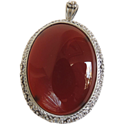 Carnelian Sterling Pin and Pendant H&T Solow Early 1900's