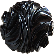 Bakelite Pin Black Deeply Carved Chunky c1940's