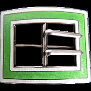 Sterling Guilloche Enamel Sash Pin