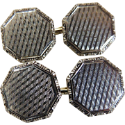Cufflinks 14 Karat White and Yellow Gold Double Sided Octagon