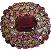 Hobe Pin Brooch Ruby Red Pink Clear Rhinestones