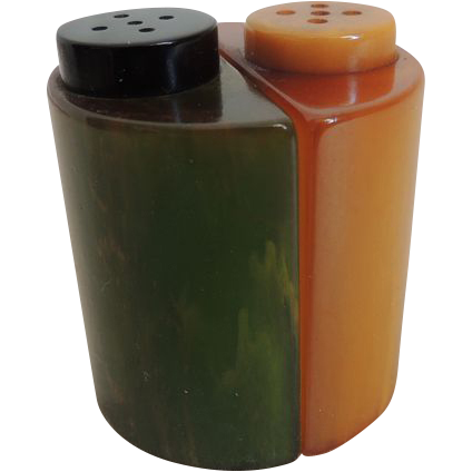 Bakelite Salt And Pepper Shakers Art Deco Stylized Sold On