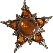 Trifari Alfred Philippe Amber Faceted Glass Rhinestone Star Pin c1941