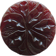 Bakelite Pin Deeply Carved Burgundy Translucent c1940's