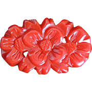 Bakelite Pin Deeply Carved Red Dimensional Flower