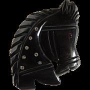 Bakelite Horse Pin Black Deeply Carved with Rhinestones c1950's