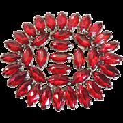 Rhinestone Pin Art Deco Czech Red Marquis Stones c1930's