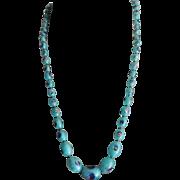 Art Deco Bohemian Peacock Foil Eye Art Glass Beaded Necklace