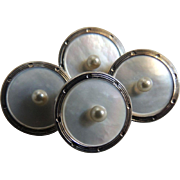 Vintage Cufflinks Krementz Mother of Pearl Double Sided