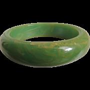 Bakelite Bracelet Lime Green with Yellow Marbled Swirls
