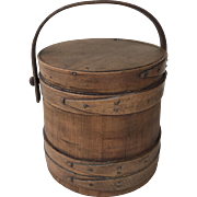 Signed Shaker wooden firkin with swing handle