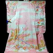 Japanese wedding silk  kimono