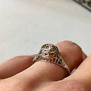 Stunning Filigree Detail Old Mine Cut Diamond Engagement Ring
