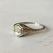 Gorgeous Floral Filigree Old Mine Cut Diamond Ring