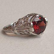 Garnet Diamond Platinum Filigree Ring