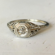 Outstanding Detail Old Mine Cut Diamond Filigree Engagement Ring