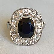 Sapphire and European Cut Diamond Engagement Ring