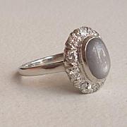 Beautiful Lavender Star Sapphire Diamond Halo Ring