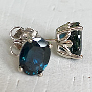 Gorgeous Vintage Large Blue Sapphire Earrings