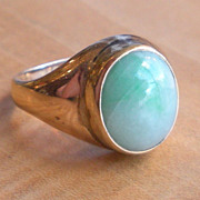 Green Jade Cabochon 14k Yellow Gold Ring