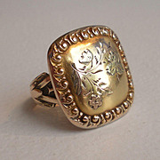 Solid 14k Tri-Colored Gold Ring - Button Ring - Green Gold Rose Gold Yellow Gold - Repousse