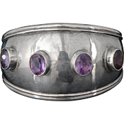 vintage Mexican sterling silver and amethyst Cuff Bracelet ~ slick Taxco modernist design