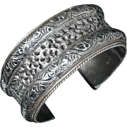 old Deco Chinese diaspora 900 silver Cuff Bracelet ~ intricately pierced repousse design