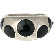 Los Ballesteros Mexican sterling silver and black lucite polka dot Bracelet