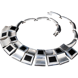 vintage Mexican sterling silver and black onyx Necklace ~ massive Taxco modernist pectoral