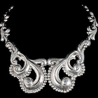 vintage Gerardo Lopez Mexican silver Necklace ~ stunning Taxco repousse pectoral