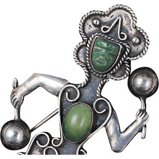 Elna Mexican Deco silver figural Pin Brooch ~ repousse exotic dancer jester with green stones