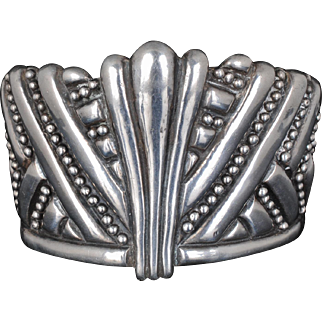big early Mexican Deco repousse silver Cuff Bracelet ~ crown shaped with beading
