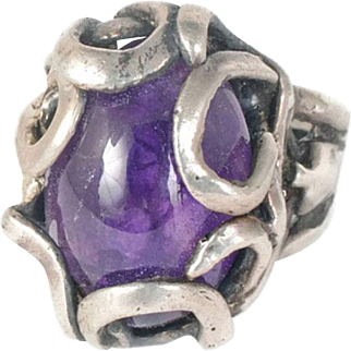 towering 70s sterling silver and amethyst brutalist Ring ~ stunning stone and setting