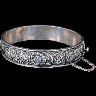 vintage Art Deco Portuguese 835 silver repousse hinged Bracelet ~ classic harvest / four seasons design