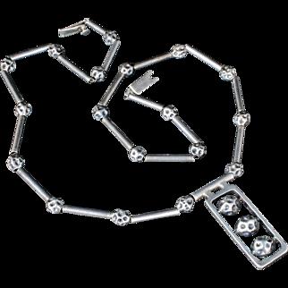 "25"" long Erika Hult de Corral Mexican silver modernist Necklace ~ Taxco ""moonscapes"" brutalist design"