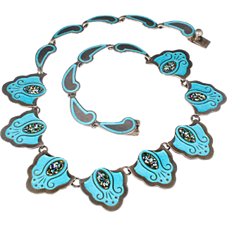 vintage Mexican silver and enamel Necklace ~ classic Taxco confetti and champleve shield design