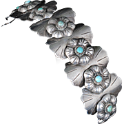 bold vintage Deco Mexican silver and turquoise Bracelet ~ layered floral appliques