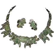 substantial vintage Deco Mexican 980 silver Necklace and Earrings set ~ Taxco mozaico azteca style