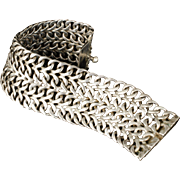 wide Mexican Deco sterling silver mesh Bracelet ~ classic Taxco woven chain mail design