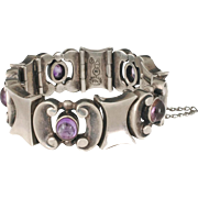 heavy Mexican 970 silver and amethyst modernist Bracelet ~ a vintage Taxco treasure