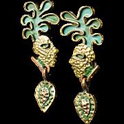 stunning Casa Maya Mexican copper brass enamel dangle Earrings ~ The Kiss